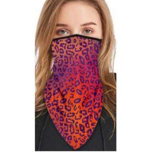 Leopard print face cover, gaiter, bandana ear loop